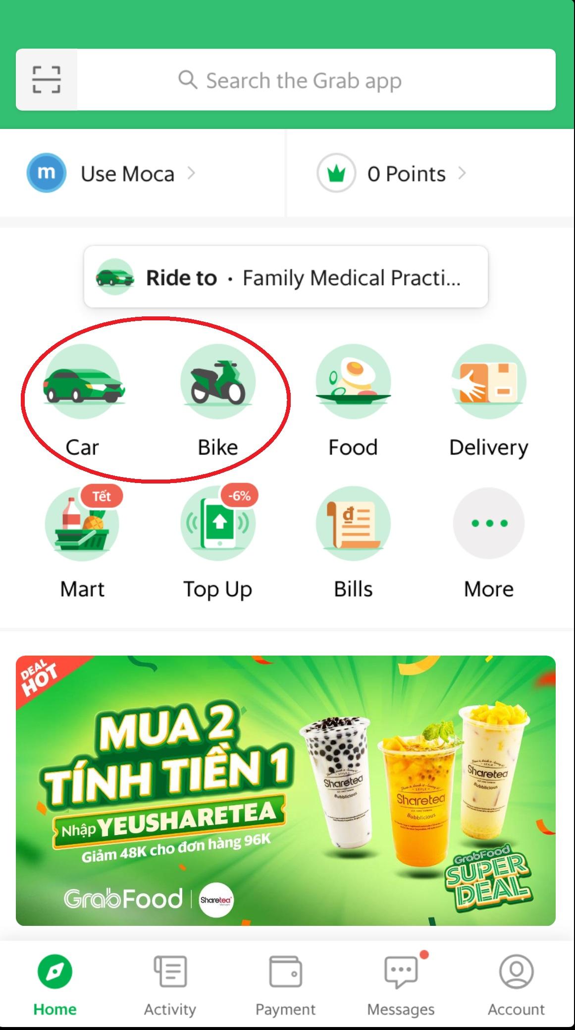 Grab_タクシー_メイン画面